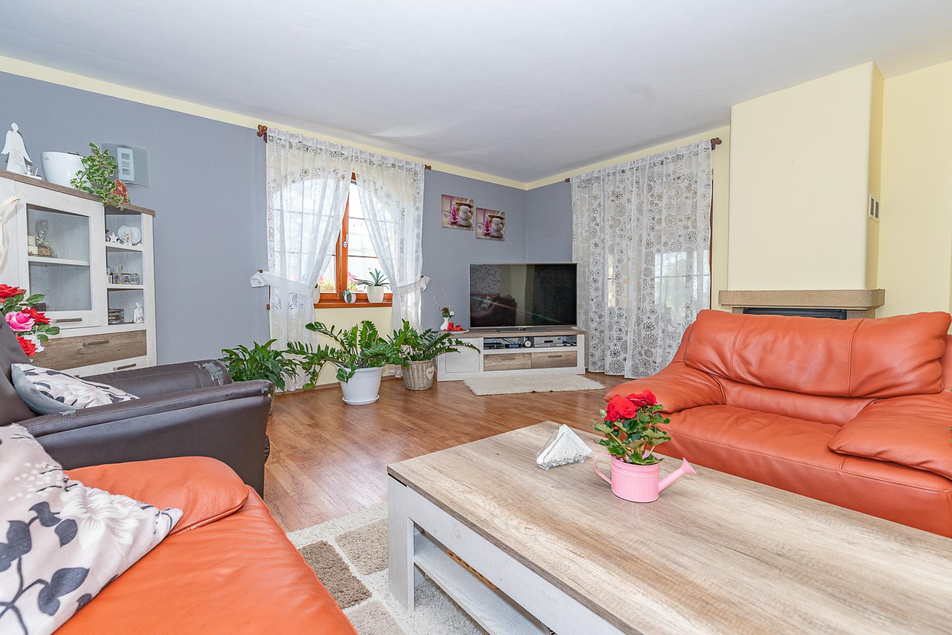 obývací pokoj s TV, okny, gauči, konefernční stolek a květiny
