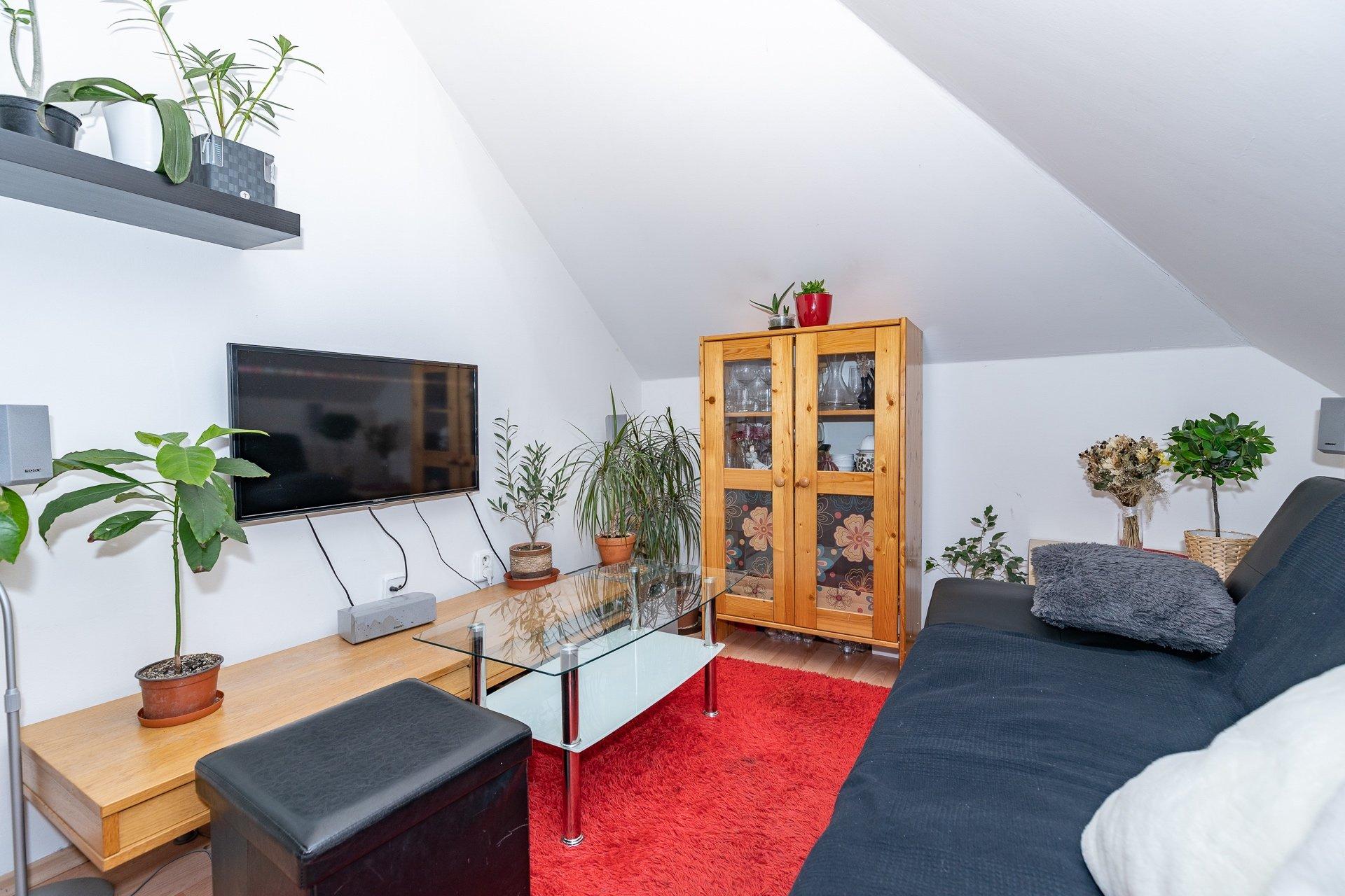 obývací pokoj s TV, konferenčním stolkem a pohovkou