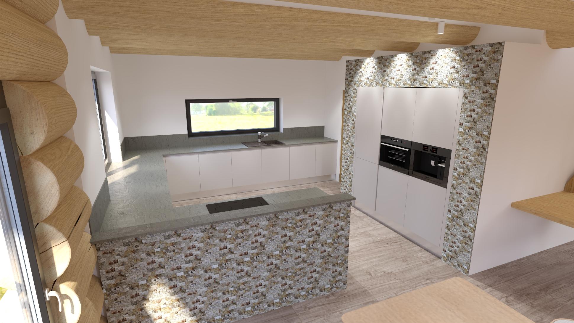 vizualizace na kuchyňský kout v srubové stavbě