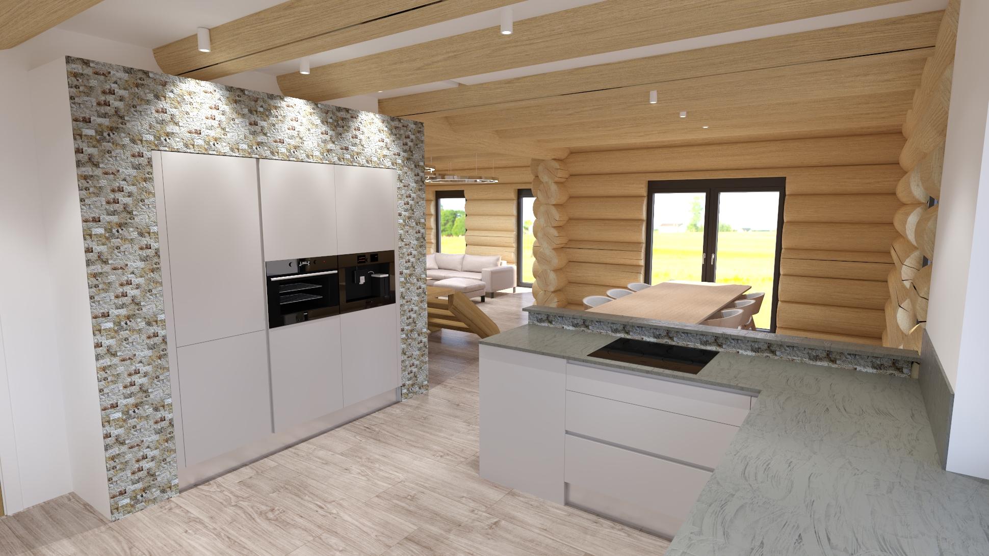 vizualizace kuchyňského koutu v srubu, pohled na jídelní stůlm a obývací pokoj