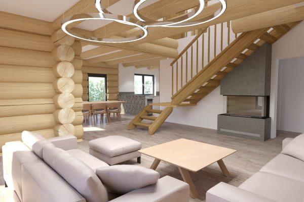 vizualizace srubu - dolní podlaží s krbem, obývacím pokojem a jídelním koutem