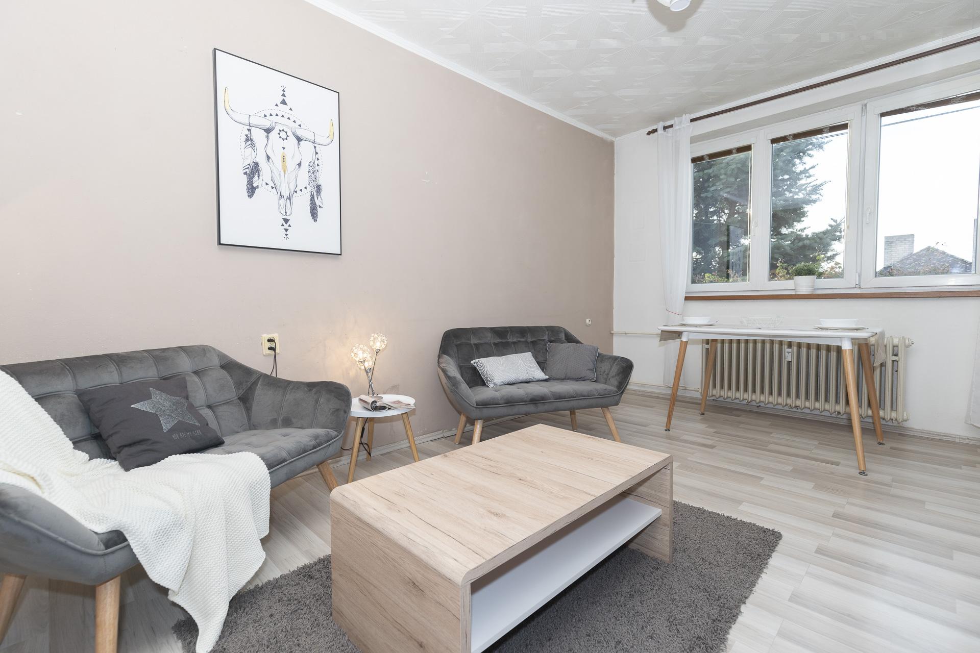 obývací pokoj s nábytkem a oknem