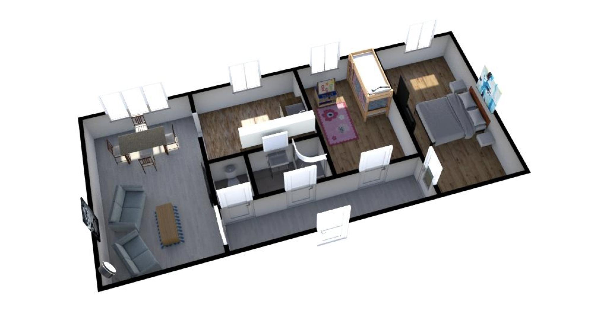 půdorys s horním pohledem na byt 3+1