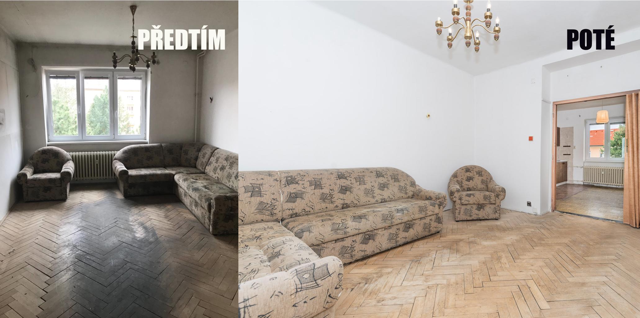 levá část bytu před úpravou s gaučem, pravá část foto po úpravách s gaučem