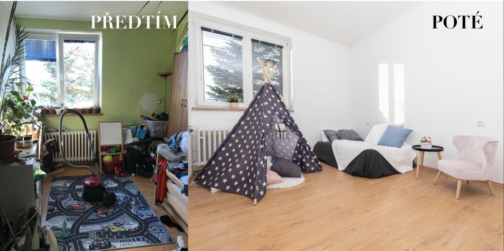 levá část foto bytu před vystěhováním a úpravami a pravá část foto po úpravách s dekoracemi